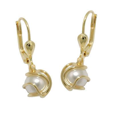 333 Echt Gelbgold Brisuren Ohrringe Ohrhänger Creolen Perlen Goldkorb Damen weiß