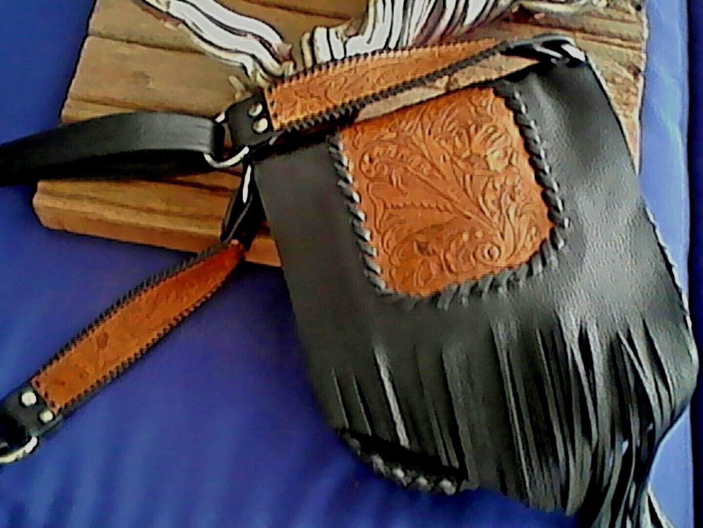 Negro Genuino Piel de vaca de Cuero de Hombro Bolso de flecos Biker Western