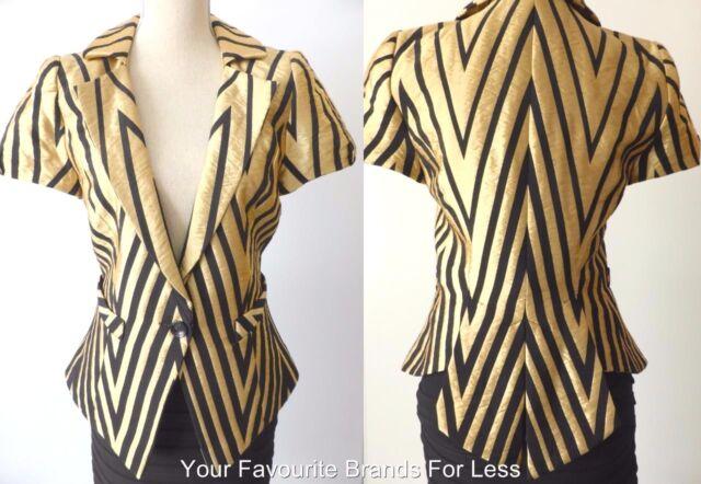 CUE Women's Jacket Retro Style Short Sleeve Made In Australia  Size 10 US 6