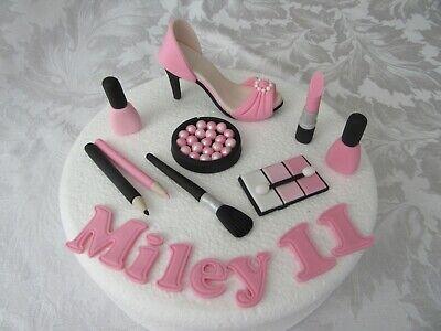 Superb Edible Make Up Shoe Cake Topper Girls Birthday Personalised Personalised Birthday Cards Paralily Jamesorg