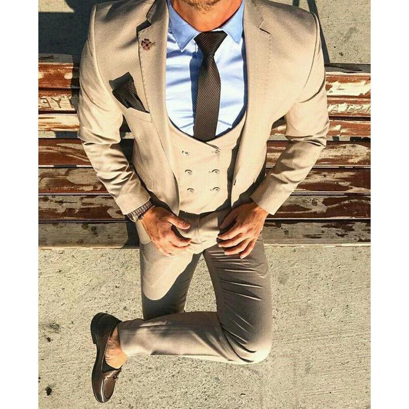 3 Piece Slim Fit Tuxedo Best Man Bridegroom Wedding Prom Dinner Suits