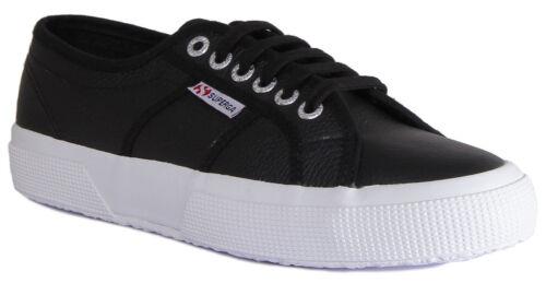 Superga 2750 Efglu Mens Leather Black White Lace Up Trainers UK Size 6-12