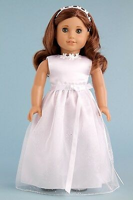 My First Communion - Doll Clothes for American Girl, Wedding Dress Headband Shoe