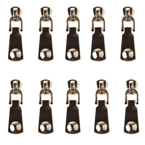 10pcs #5 Metal Zipper Slider Pull Replacement Repair Sewing Garment Bag Suitcase