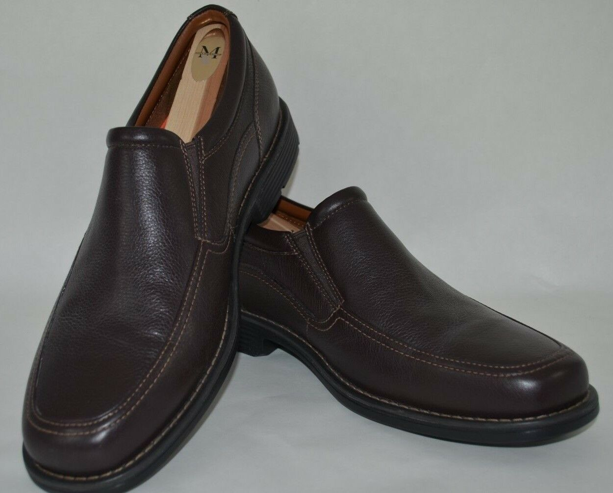 Mens Rockport Day Trading TWIN GORE Slip On A13407 Dark Brown Leather Loafer New
