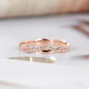 0-10Ct-Round-Cut-VVS1-D-Diamond-Half-Eternity-Wedding-Band-14K-Rose-Gold-Finish