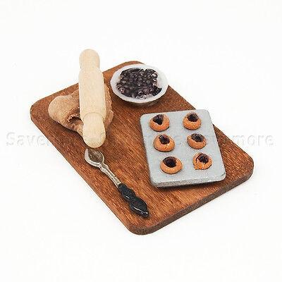 1:12 Rolling Pin Spoon Blueberry Pie Cookie Set Kitchen Miniature Dollhouse Cute
