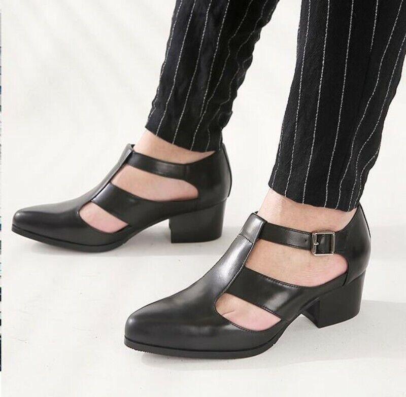 Zapatos para Hombre de Cuero Hebilla De Punta Cerrada hueco T-Strap Block Heels Sandalias Lit01