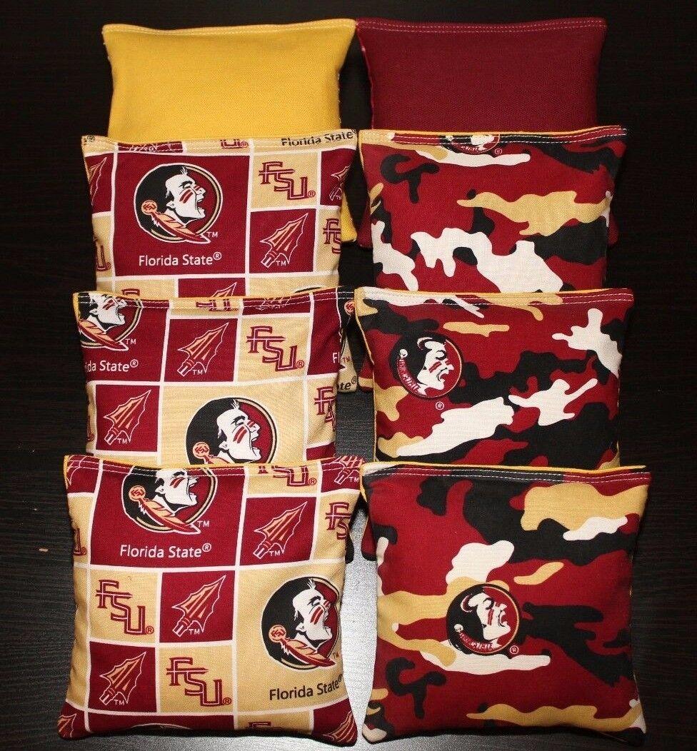 ALL Weather Cornhole Bean Bags made w FLORIDA STATE University SEMINOLES fabric