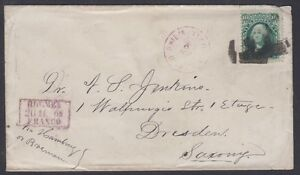 1868-10c-E-Grill-stamp-tied-on-cover-paying-Direct-Mail-rate-to-Dresden-Germany