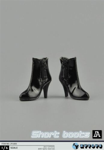 """1//6 Leather Ankle Boots A For 12/"""" PHICEN Hot Toys TBLeague Female Figure U.S.A."""