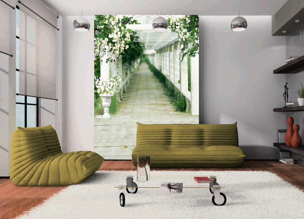 3D Green Corridor 52 Wallpaper Murals Wall Print Wall Mural AJ WALL AU Summer