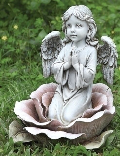 ROMAN Joseph Studio 11'H ANGEL CHILD PRAYS IN ROSE Garden Figure Statue #64555