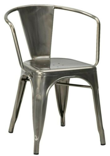 4 x Tolix Style Armchair Restaurant Cafe Metal Industrial Dining Bistro