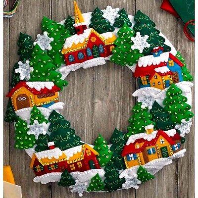 Bucilla Felt Applique Home Decor Kit 16 in ~ SNOW VILLAGE WREATH #86686 Sale