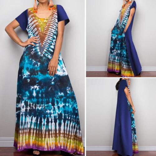 New Ladies Women/'s Tie Dye Printed Floral Loose Kaftan Maxi Dress Plus Size 8-26