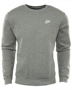 612466f45097 Nike Nsw Club Fleece Crew Mens 804340-063 Grey White Logo Sweatshirt ...