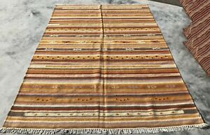Authentic Hand Knotted Woven Vintage Kilim Kilm Area Rug 8 x 6 Ft (730 KBN)