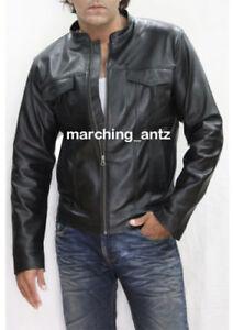 New-Men-Lambskin-Motorcycle-biker-Denim-Style-Leather-Jacket-Cafe-Racer-Vest