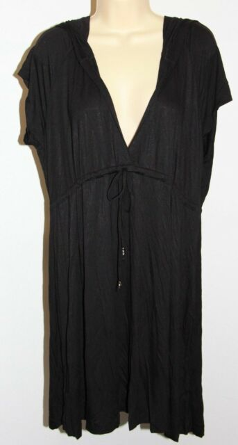 f0ac3d81faf Dotti Black Plus Size Hooded Swimsuit Cover up Tunic Dress 1x
