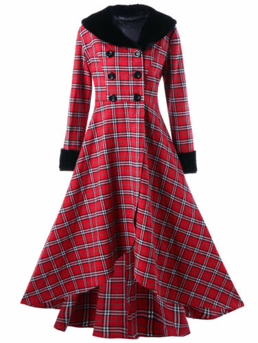 Womens Double Breasted Checked Plaid Print Slim Swing Coat High Waist 5XL-XL