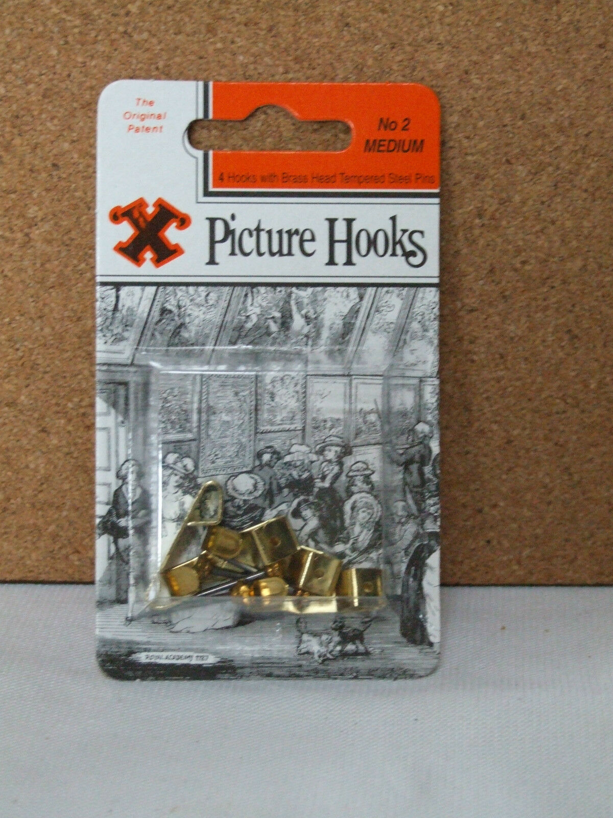 Picture Hooks No 2 4 x Medium Picture Hooks with Brass Head Tempered Steel Pins