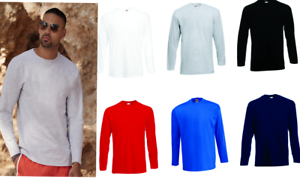 Homme-a-Manches-Longues-T-SHIRT-Fruit-of-the-loom-Lightweight-Casual-Haut-a-encolure-ras-du-cou