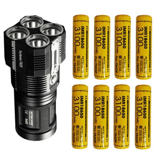 Nitecore TM28 Flashlight 6000Lm w 8x Nitecore Special IMR 3100mAh 10A Batteries