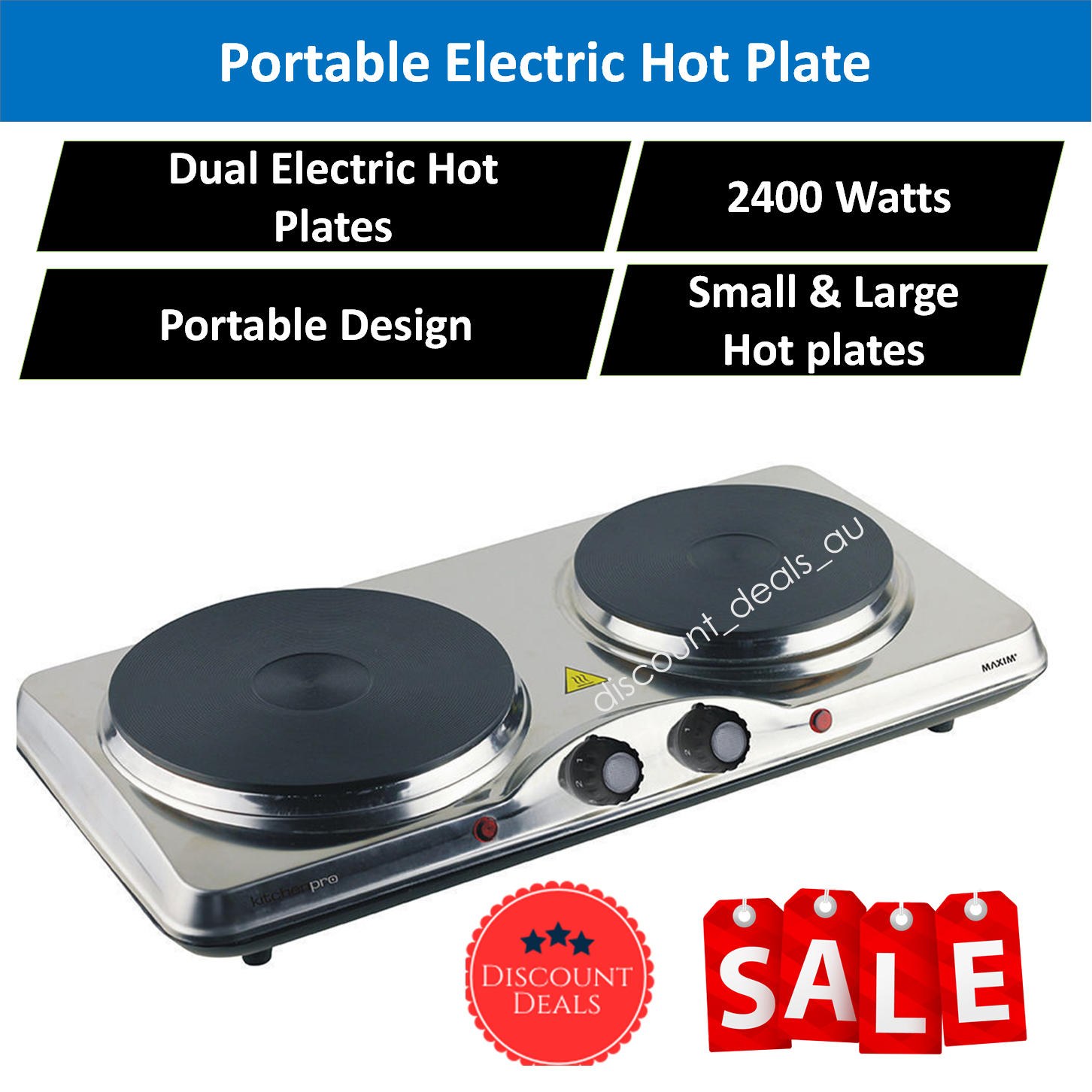 Cooking Is A Breeze With The Maxim Portable Double Hotplate. This Great  Device Is Ideal For As An Extra Cook Top For The Home, Workshop Or Office  And Much ...