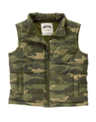 GYMBOREE S/'MORE STYLE GREEN CAMOUFLAGE LINED PUFFER VEST 6 12 24 2T 3T 4T 5T NWT