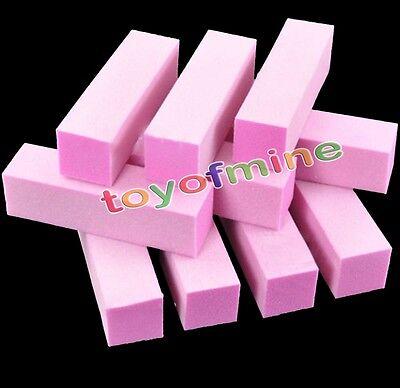 10Pcs Buffing Sanding Buffer Block Acrylic Pedicure Manicure Nail Art Tips Pink