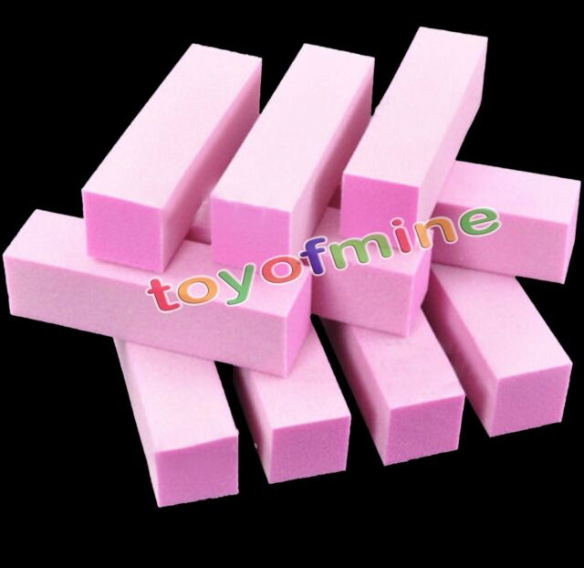 10Pcs Buffing Sanding Buffer Block Acrylic Pedicure Manicure Nail Art Tips Pink