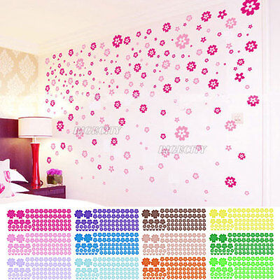 100 Pcs Removable Flower Mural Wall Art Stickers Decals Home Decor