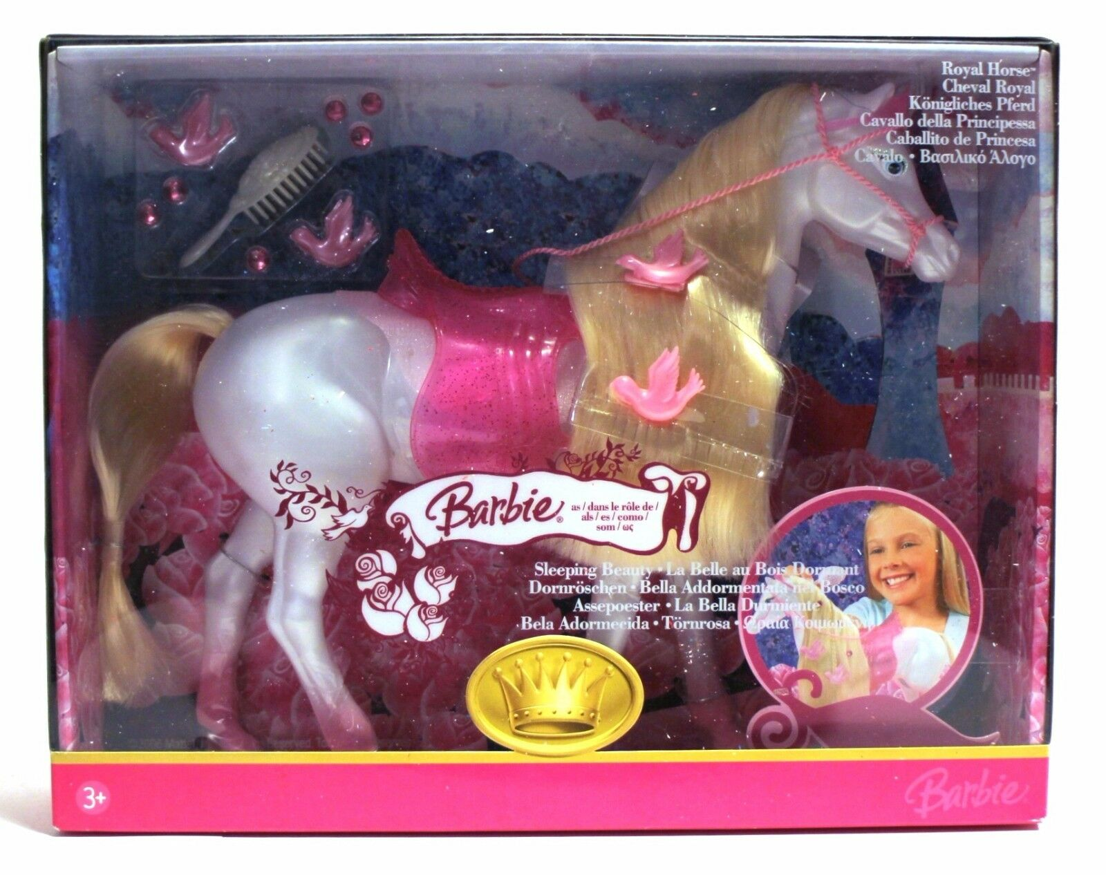 2006 Mattel Barbie Sleeping Beauty Royal Horse Excelente Sellado euro Caja VHTF