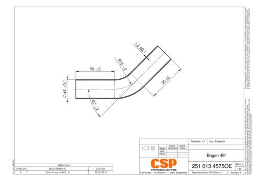 Edelstahl Abgasrohr Stahl Auspuff Universal Rohrbogen 45mm 45° Auswahl zw