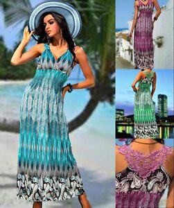f0432d520d04 Das Bild wird geladen Sommerkleid-Party-Kleid-lang-Strandkleid-bunt- gemustert-Kofferkleid-