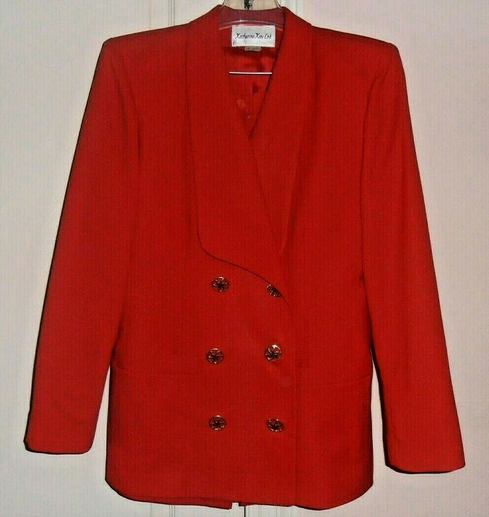 GORGEOUS KATHERINE KAY SKIRT SUIT WOMENS SIZE 10 RED BEAUTIFUL