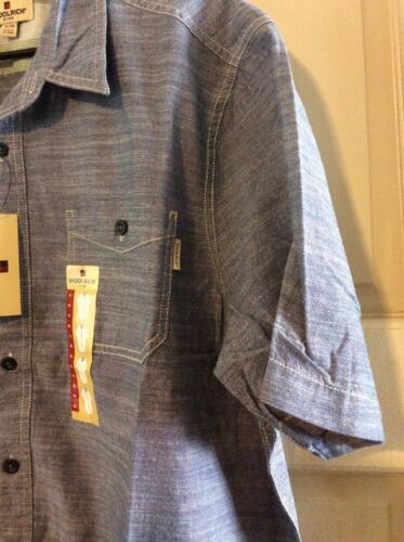 NEW Mens Polo Shirt Collar Cotton XL//L Denim Blue Button Down Career Dressy $45