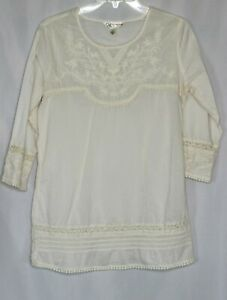Crazy-Cat-Womens-Size-S-Peasant-Ivory-Embroidered-Boho-Cotton-Tunic-Shirt-Top