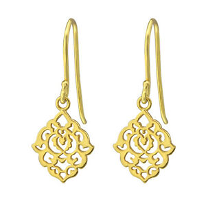 14k gold on 925 Genuine Sterling Silver Lotus Flower Filigree Hanging Earrings