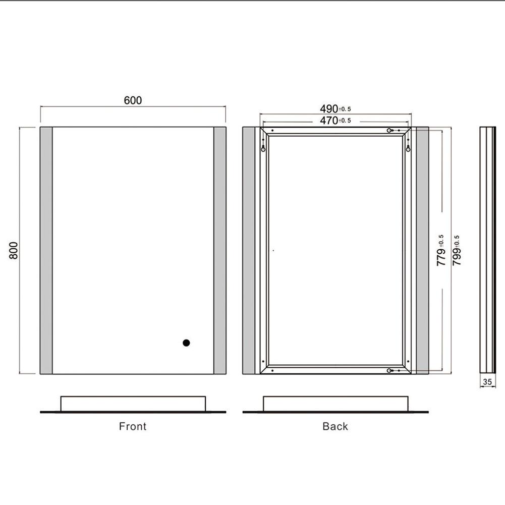 Miroir de salle de bains à LED lumineux 600mm x x x 800mm x 35mm | Belle  fff74f