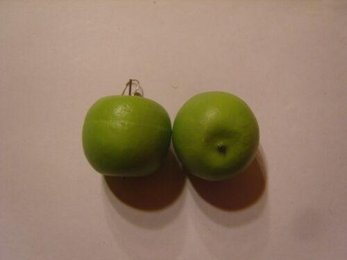 Ohrringe mit großem grünen Äpfel aus Kunststoff Gemüse Apfel 1653