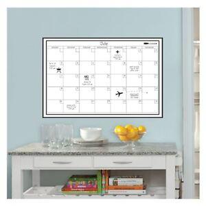weiss-monatlich-Kalender-wandpops-laminiert-trocken-entfernbar-Stift