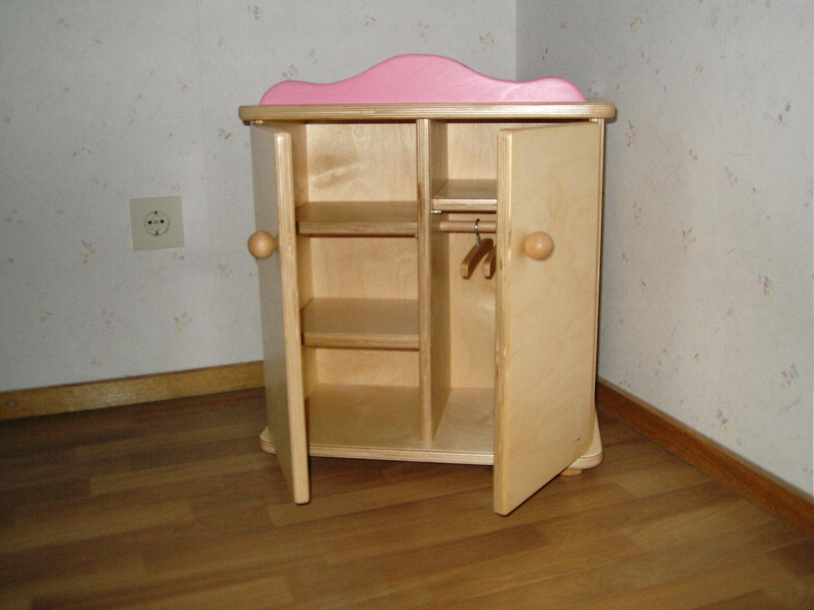 Großer Puppenschrank Kleiderschrank für Puppen mit 3 Kleiderbügel 54x46cm NEU