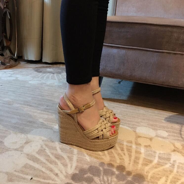 Womens Wedge Heel Platform Espadrille Peep Toe Sandals High Heel Gladiator shoes