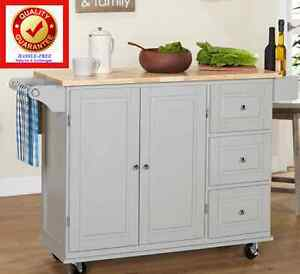rolling kitchen island wood cart w 3 drawer cabinet spice rack drop leaf grey ebay. Black Bedroom Furniture Sets. Home Design Ideas