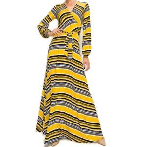 Janette-Fashion-Yellow-White-Navy-Stripe-Faux-Wrap-Long-Sleeve-Maxi-Dress-S-L