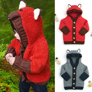 a2b9df99d Toddler Baby Kids Boys Girls Sweater Hooded Knitted Tops Warm Coat ...
