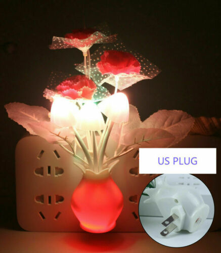 2 PACK LED Mushroom Night Light Plug in Wall Lamp Lighting Sensor for Stair Home