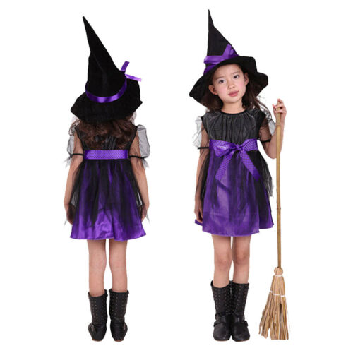 Toddler Kids Baby Girls Halloween Costume Witch Clothes Party Dresses+Hat Outfit